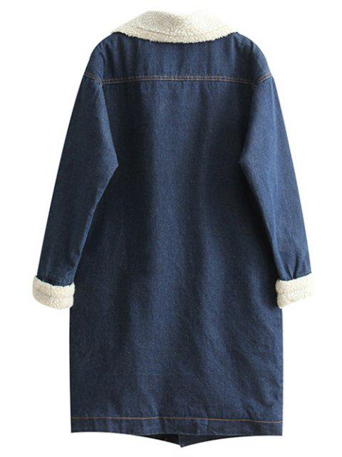 women Loose Lamb Wool Denim Coat - BLUE M Mobile