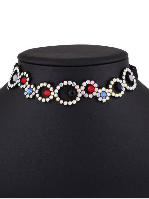 fancy Rhinestoned Floral Choker Necklace -   Mobile