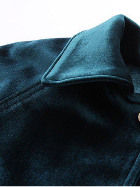 fancy Zipper Embroidered Velvet Jacket - BLACK S Mobile
