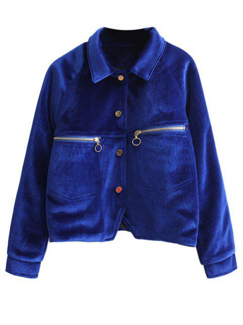 unique Zipper Embroidered Velvet Jacket - DEEP BLUE L Mobile