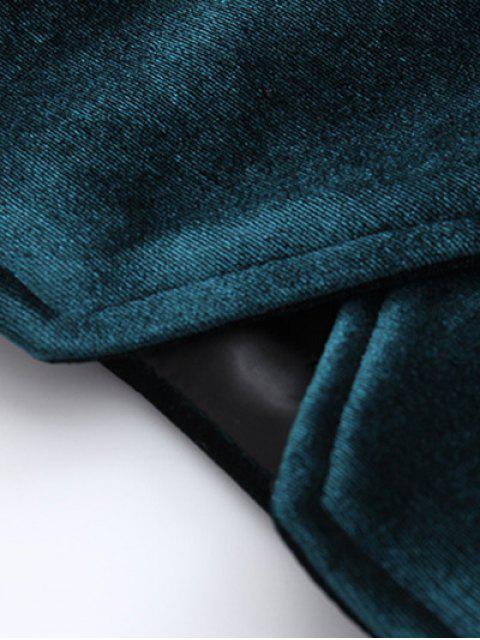 women Zipper Embroidered Velvet Jacket - BLACKISH GREEN S Mobile