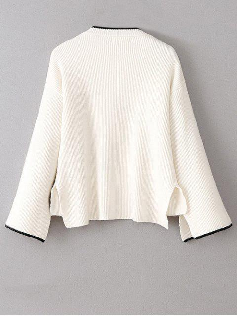 lady High-Low Slit OversizedSweater - WHITE ONE SIZE Mobile