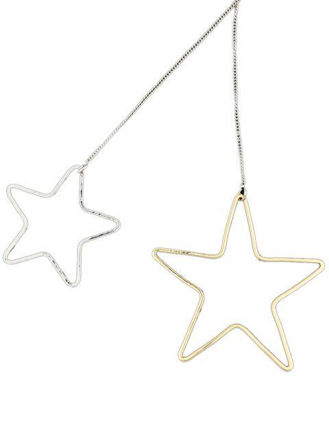 Boucles d'oreilles asymétriques embellies étoile perle - Argent et Or  Mobile