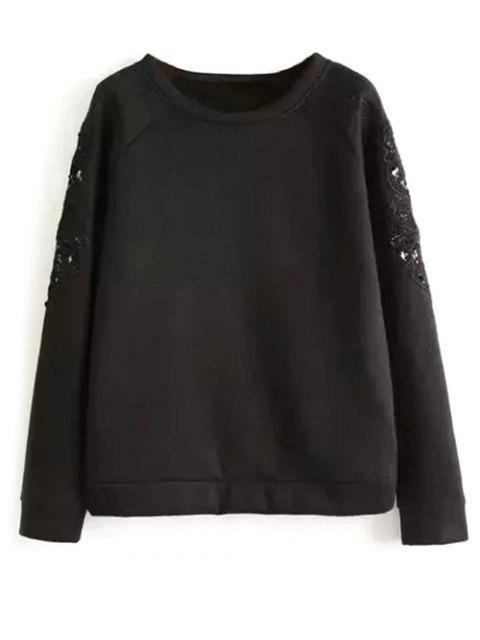 fashion Embroidered Wool Blend Sweatshirt - BLACK L Mobile