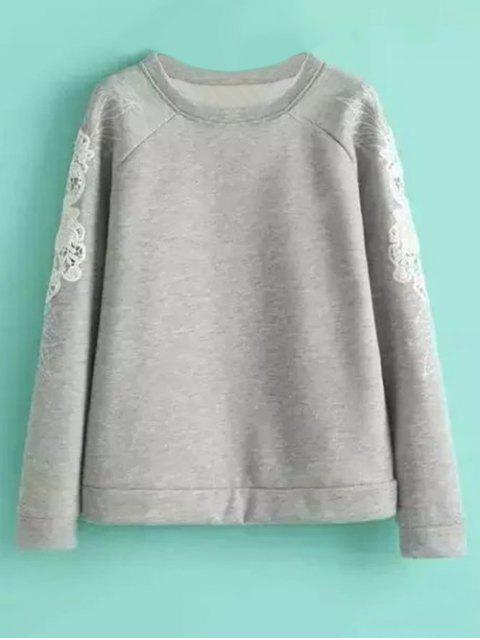 unique Embroidered Wool Blend Sweatshirt - GRAY M Mobile