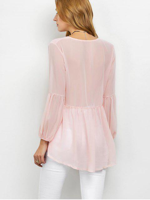 shops Plunging Neck High-Low Sheer Blouse - PINK XL Mobile
