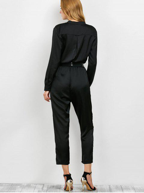 womens Casual Straight Leg Long Sleeve Jumpsuit - BLACK M Mobile
