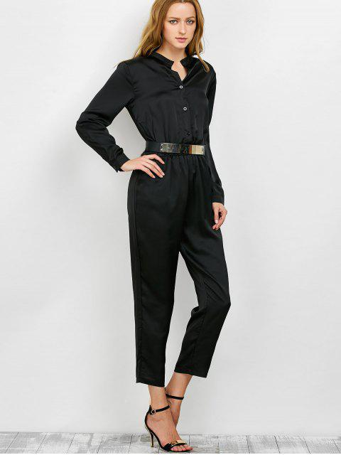 affordable Casual Straight Leg Long Sleeve Jumpsuit - BLACK XL Mobile