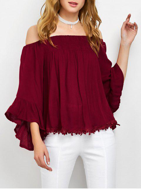 affordable Smocked Off The Shoulder Top - RED M Mobile