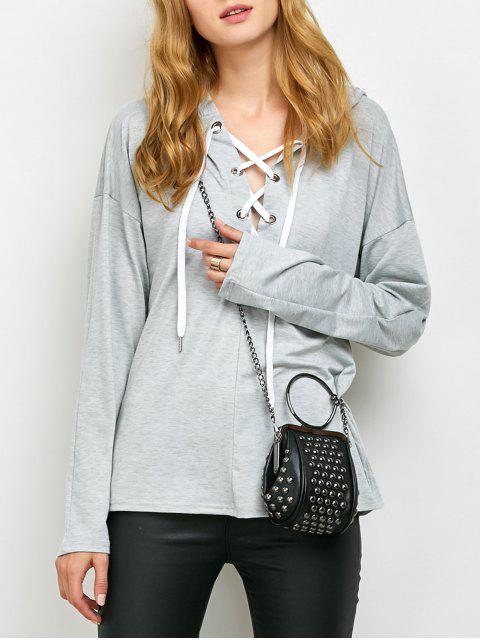 shop Long Sleeve Lace Up Hooded T Shirt - GRAY XL Mobile