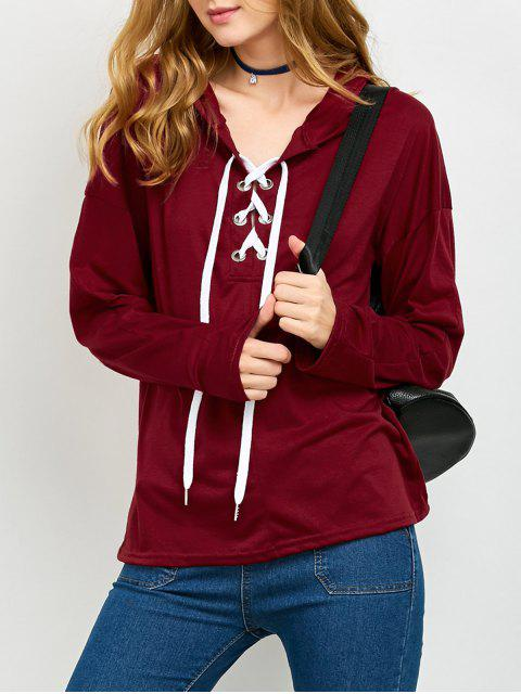 buy Long Sleeve Lace Up Hooded T Shirt - RED M Mobile