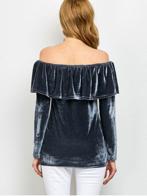 Velvet Encolure T-shirt Ruffles - Gris M Mobile