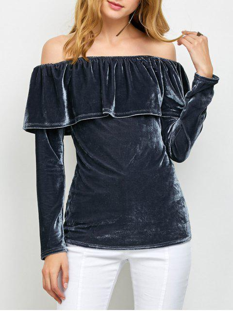 fashion Velvet Off Shoulder Ruffles T-Shirt - GRAY M Mobile