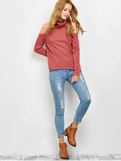 affordable Cold Shoulder Turtle Neck Knitwear - RED S Mobile