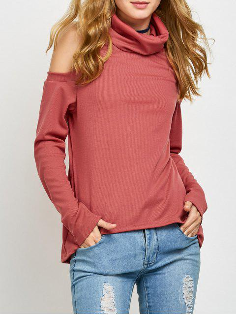 unique Cold Shoulder Turtle Neck Knitwear - RED L Mobile