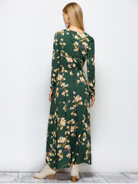 women Long Sleeves Maxi Floral Dress - GREEN S Mobile