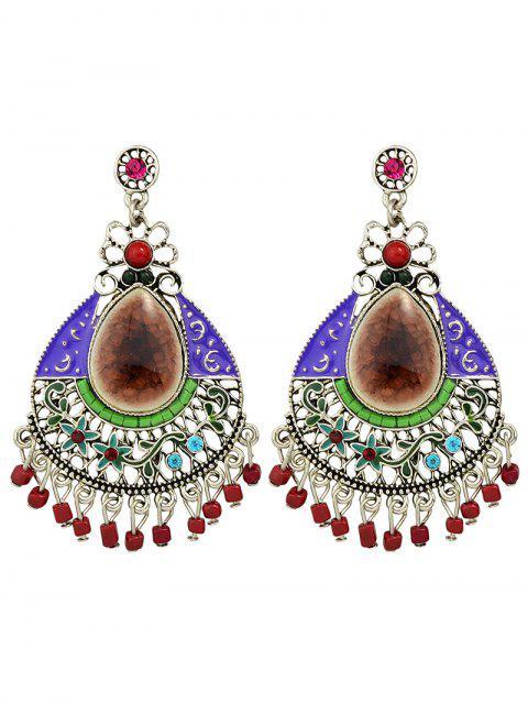 buy Rhinestone Faux Gem Flower Teardrop Earrings -   Mobile