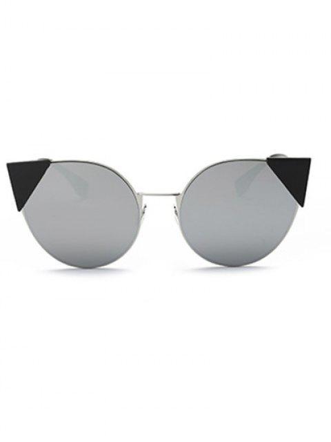 women's Triangle Insert Cat Eye Mirrored Sunglasses -   Mobile