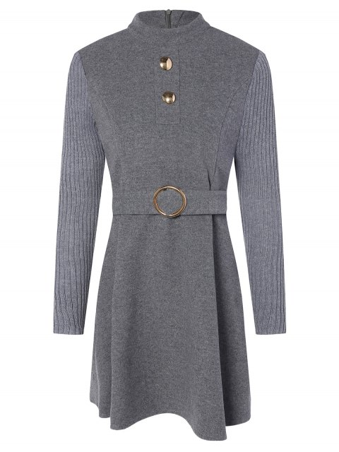 sale Stand Neck Wool Blend A Line Dress - GRAY 2XL Mobile