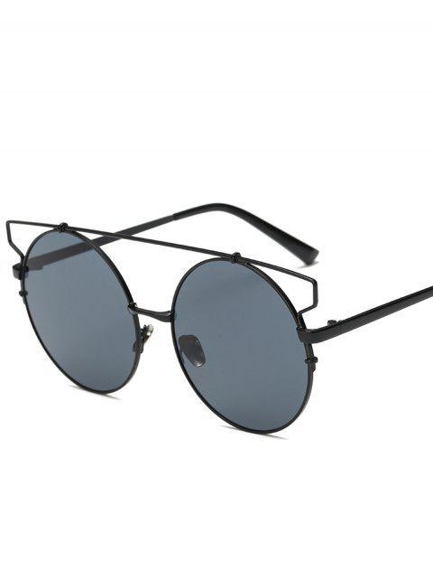 ladies Cross Bar Round Sunglasses - BLACK  Mobile