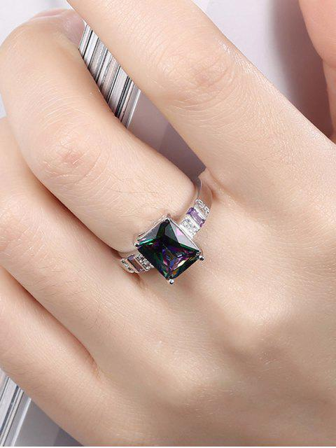 chic Geometric Rhinestone Circle Ring -   Mobile