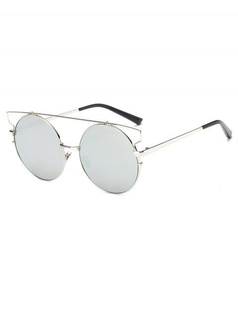 online Cross Bar Round Mirrored Sunglasses - SILVER  Mobile