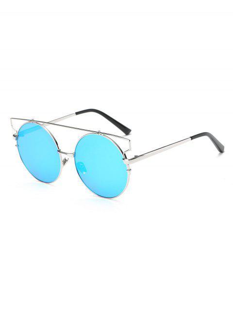 new Cross Bar Round Mirrored Sunglasses - ICE BLUE  Mobile