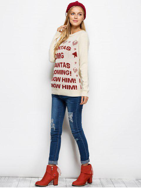 online Letter Crew Neck Christmas Pullover Sweater - PALOMINO XL Mobile