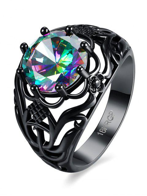 womens Rhinestone Flower Hollowed Ring -   Mobile