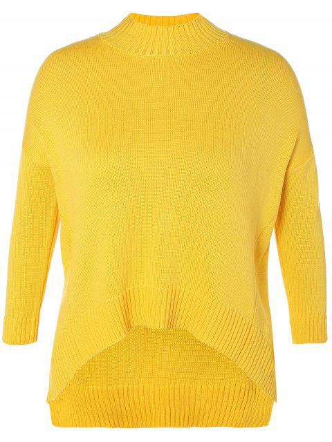 latest Funnel Neck Plus Size High Low Sweater - YELLOW 2XL Mobile
