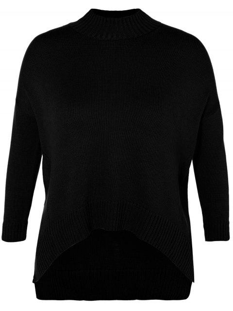 fancy Funnel Neck Plus Size High Low Sweater - BLACK XL Mobile