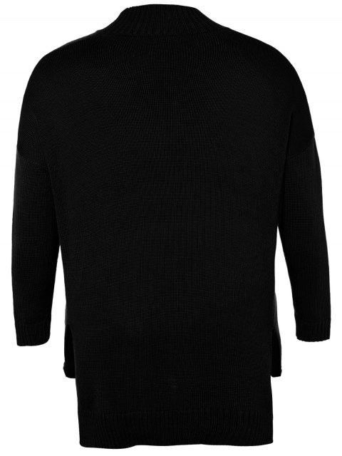 fashion Funnel Neck Plus Size High Low Sweater - BLACK 3XL Mobile