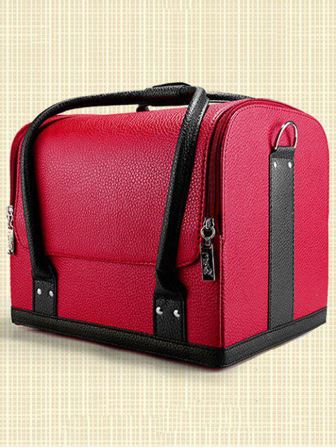 affordable Waterproof Faux Leather Makeup Case - RED  Mobile