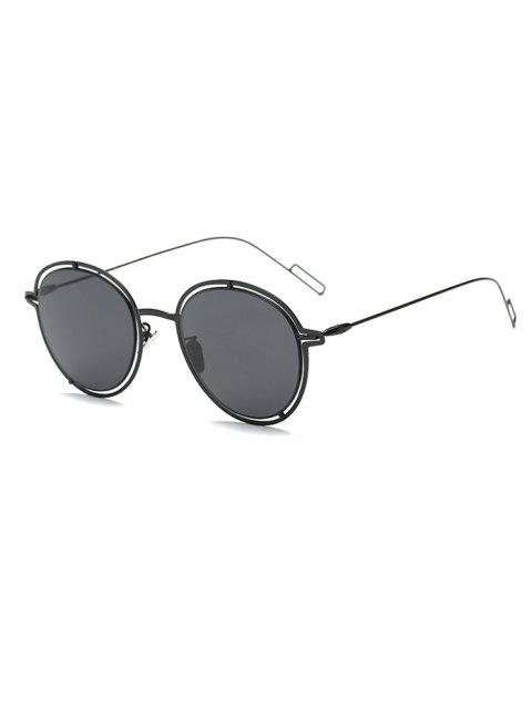 fashion Double Rims Metal Oval Sunglasses - BLACK  Mobile
