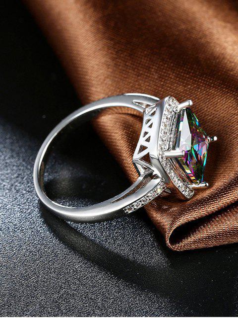 trendy Square Rhinestone Ring - SILVER 6 Mobile