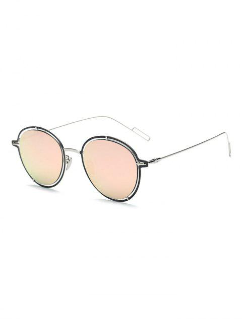fancy Double Rims Metal Oval Mirrored Sunglasses - BLACK  Mobile