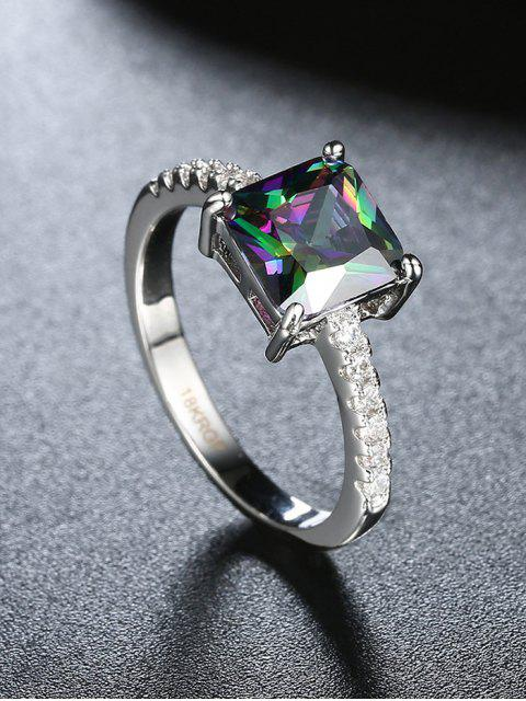 fancy Artificial Gem Rhinestone Square Ring -   Mobile