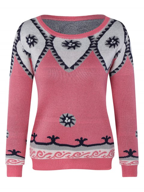womens Round Neck Geometric Pattern Sweater - PINK ONE SIZE Mobile