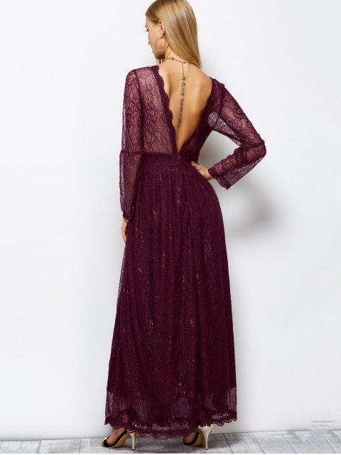 chic Floral Lace Evening Dress - WINE RED L Mobile