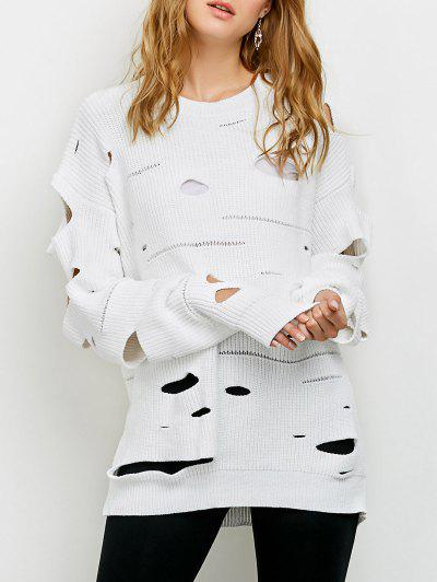 Cut Out Crew Neck Sweater - Blanco 2xl