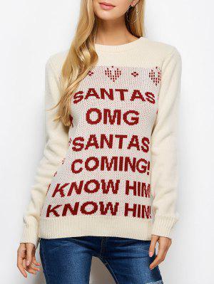 Carta De Cuello Redondo Suéter De Navidad Pullover - Palomino M