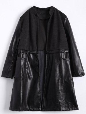 PU Leather Panel Plus Size Coat - Black 2xl