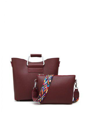 Colored Shoulder Strap Metal Handle Tote