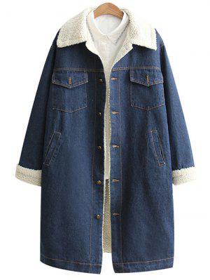 Loose Lamb Wool Denim Coat - Blue S