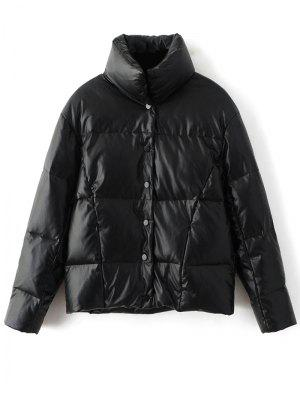 Snap Button Quilted Down Jacket - Black M