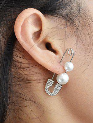 ONE PIECE Faux Pearl Rhinestone Pin Earring - Silver
