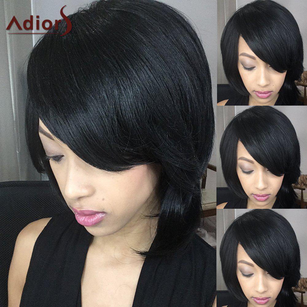 Adiors Short Fluffy Straight Oblique Bang Synthetic Wig 190902701