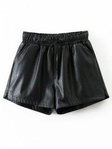 Pantalones Cortos Con Cordón PU - Negro L
