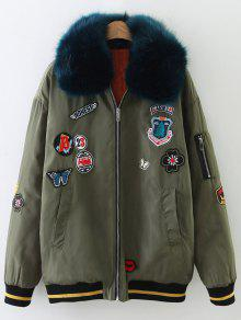 Patch Design Fur Collar Padded Bomber Jacket - Army Green L