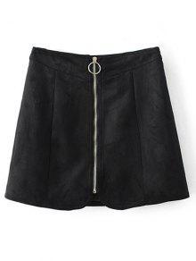Zippered Suede Mini Skirt - Black S